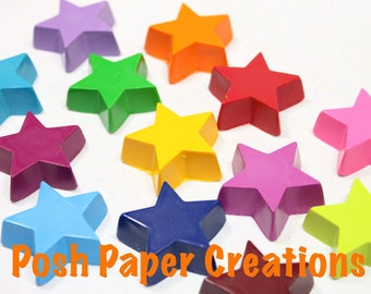 15 sets of 3 Star crayons -  in cello bag tied with ribbon - choose your colors