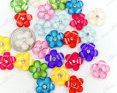 18mm 18~36pcs Mixed Glitter Rhinestone Cherry blossom Sakura Flower Flatback Resin Cabochons C27