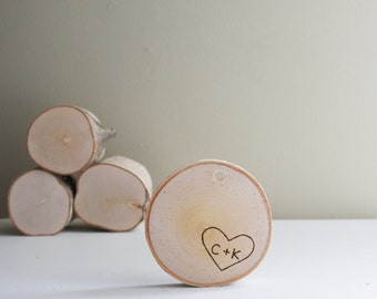 Personalized White Birch Wood Ornament - heart & initials, anniversary gift, wedding gift, engagement gift, wood slice ornament