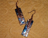 Blue and bronze Van Gogh brockus creations stained glass earrings 5227