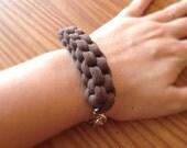 Woven Brown Fabric Bracelet, T-Shirt Yarn Bracelet, Nautical Jewelry, Sailing Jewelry, Bohemian Bracelet, Bohemian Jewelry