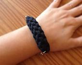 Black Nautical Bracelet, Sailing Jewelry, Wanderlust Jewelry, T-Shirt Yarn Bracelet, Black Fabric Bracelet, Bohemian Jewelry