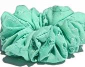 Cotton Eyelet Scrunchie in Mint