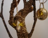 Puffy Dangle Earrings in Silver with Sunny Yellow Glass Beads Free Shipping in USA