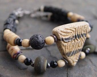 Handmade Stoneware Tribal Art Beads Bracelet Beautiful Year-Round Neutrals - Reversible.