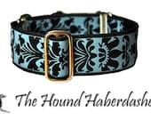 Martingale Collar: Baby Blue and Black Damask - 1.5 Inch, Greyhound Collar, Whippet Collar, Custom Dog Collar, Martingale Dog Collar
