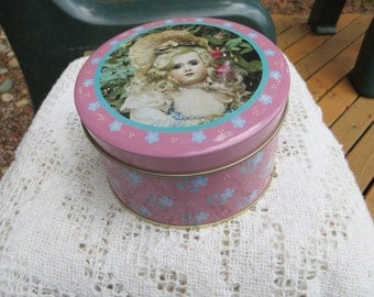 Antique Dolls Tin by Currant Small Round and Pink