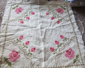 Lovely Vintage Embroidered Square Pink Flowers