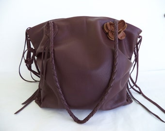 brown leather  handbag tote zippered, with braided strap,  flowers and fringe by Tuscada. Ready to ship.