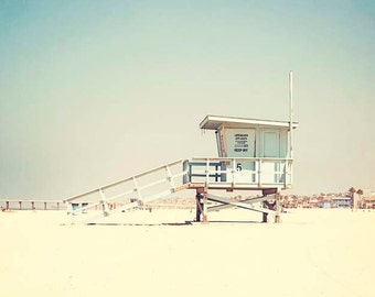 """Lifeguard Stand Photograph, Hermosa Beach , Lifeguard Tower Photography, Mint Green, Pastel,   Summer Wall Art,  """"Summer Days"""""""