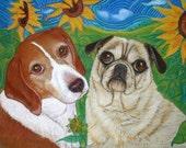 Custom pet Portrait 2 dogs or cats ORIGINAL painting dog art painting  pet portrait