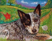 Australian Cattle Dog  art painting pet portrait ORIGINAL autumn dog art oil pastel landscape leaves
