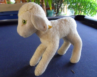 Steiff lamb, sheep, Locky w. button/flag, made in Germany 406