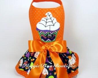 Clearance, Sample Sale, Dog Dress Spider Cupcake Dress Small