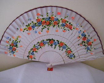 Regency/Victorian Style Fan. Wood. Ivory, Orange, Blue and pink hand painted flowers.
