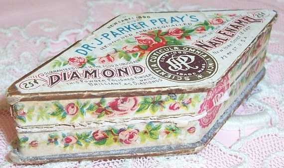 ANTIQUE Dr. J. Parker Pray's Diamond Nail Enamel Box...Pink ROSES Litho Label