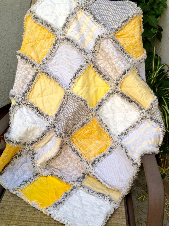 Yellow And Gray Chicks And Egg Baby Lap Rag Quilt