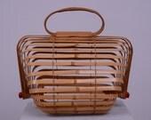 Japanese Wicker Bamboo Folding Basket Bird Cage Purse