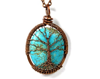 Spindly Roots and Branches Turquoise Tree of Life Necklace in Antique Copper.
