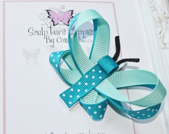 Torquoise Aqua Butterfly Bow. Butterfly Sculpture Ribbon Clippie. Free Ship Promo.