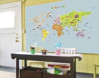 World Map Removable Nursery Wall Art Decor Mural Decal Sticker 61005
