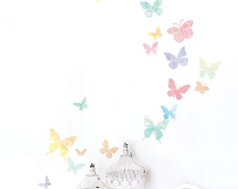 Watercolor Butterflies Removable Wall Decal Sticker 61008