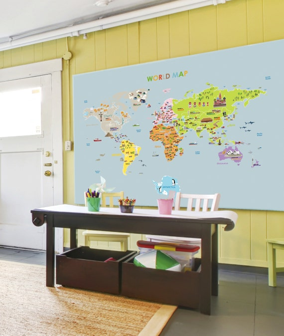 World map removable nursery wall art decor mural decal sticker etsy gumiabroncs Images