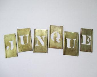 Vintage Junque Brass Letter Stencils - Word - Junk - Shop Decor - Flea Market Decor - Studio Decor - Photo Prop