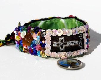 Cross scapular embroidered bracelet