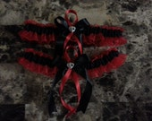 Red and black wedding garter set any size