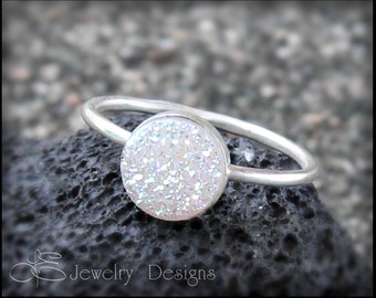 SOLID STERLING Silver White DRUZY Quartz Ring - druzy ring, druzy quartz, white sparkly, stacking rings, stackable rings