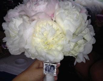 Wedding Bouquet charm, Rhinestone Photo Charm, bridal bouquet memorial, Personalized photo pendant, memorial photo charm, bridal bouquet