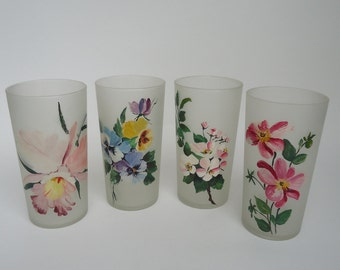 4 Assorted Handpainted Flowers Libbey Glasses
