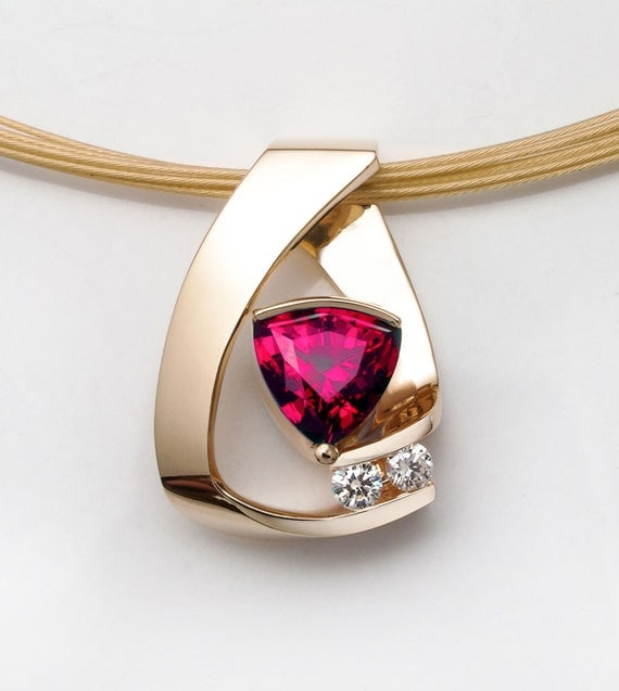 Ruby necklace ruby necklace 14k yellow gold chatham for Fine jewelry diamond pendants