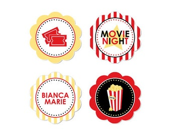 50% Off Sale! - PRINTABLE Movie Night Party Circles