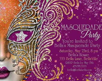Masquerade Party, Masquerade Invitation, Mardi Gras Party