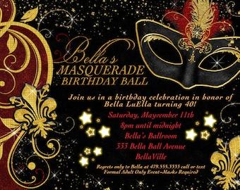 Masquerade Party Invitation Masquerade Invite Mardi gras