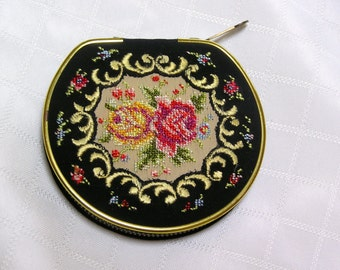 Vintage West Germany Petit Point roses on black zippered compact