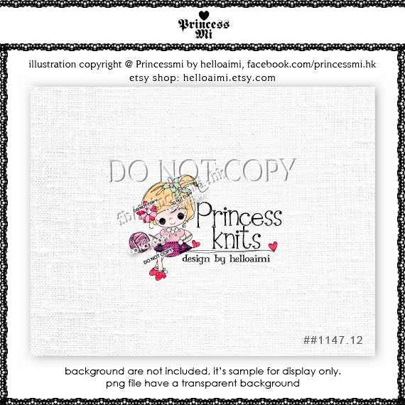 Custom Premade Logo Design - sketch hand drawn crochet ball of yarn knitting girl with bow logo business boutique by princess mi logo1147-12