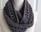 Infinity Scarf-Crocheted-Lavender Grey - Crochet Cowl - Crocheted Cowl Scarf - Crochet Circle Scarf - Crocheted Scarf