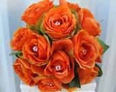 Read to ship - Wedding bouquet orange rose bridal bridesmaid bouquet