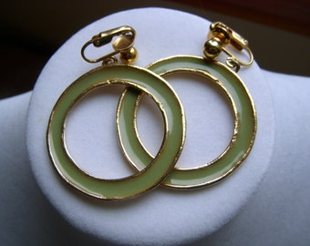 Zentall Green Enamel Hoop Earrings