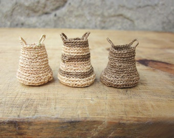 Made to Order, Miniature elf's baskets, kitchen decor, home decor, natural, hand crochet, doll house, Set of three baskets