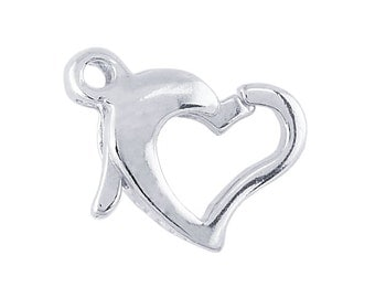 Sterling Silver Open Heart Lobster Clasp