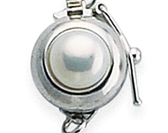 14K Solid White Gold Pearl-Set Safety Clasp