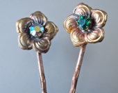 Pair Hair Pins Czech Emerald Green and AB Flowers Hair Jewelry Art Deco