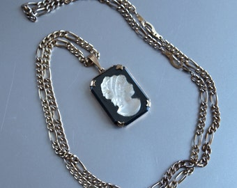 Czech Pendant Black and White Cameo Necklace 60's Edwardian Revival Cameo
