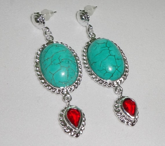 "Blue Turquoise, Red Topaz Pierced Earrings, .925 Sterling Silver, 11 grams, 2"" long"