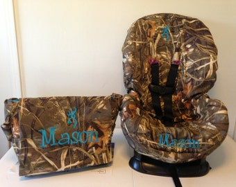 ALL CAMO Toddler Car Seat Cover  & Diaper Bag Set max4, mossy oak or realtree fabric
