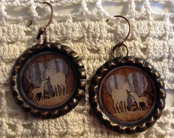 Mare and Foal With Heart Cowgirl Bottle Cap Earrings